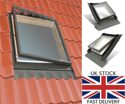 Fenstro 45x55cm Double Glazed Rooflite Access Roof Window + integrated flashing