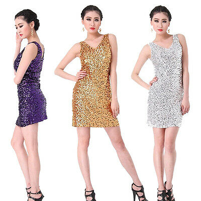AU Lady Cocktail Party Latin Ballroom Salsa Dance Sequin Fringe Club Dress
