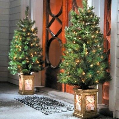 SET 2 4 Foot LIGHTED PRELIT CHRISTMAS PORCH TREES Outdoor Yard Art Holiday Decor