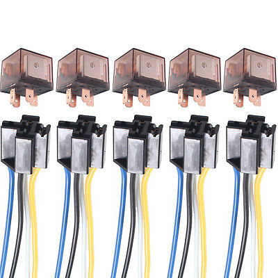 5 X Car Truck Auto 12V 80A 80 AMP SPST Relay Relays 4 Pin 4P & Socket 4 Wire