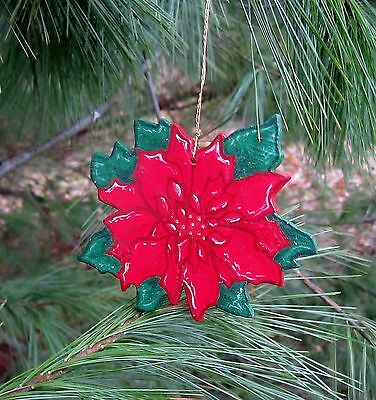 Poinsettia - handpainted wooden ornament #191