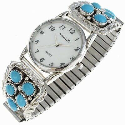 Turquoise Cluster Mens Watch Bracelet Navajo Made