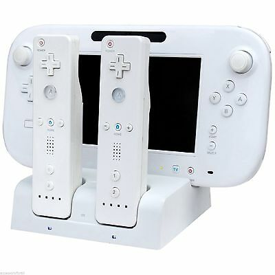 3 in 1 Charger Dock Station Docking White +2 Battery For Nintendo Wii U Gamepad