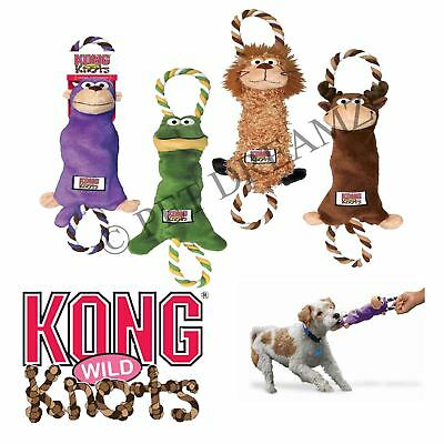 Kong Tugger Knots Dog Puppy Squeaky Strong Tough Tug Rope Toy - Choice Of Styles