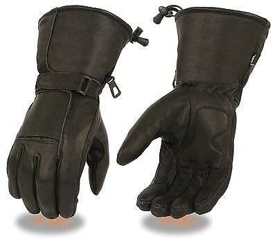 Mens Textile//Leather Combo Waterproof Motorcycle Winter Gauntlet Glove FI138-GL