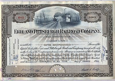 Erie and Pittsburgh Railroad Company Stock Certificate Pennsylvania