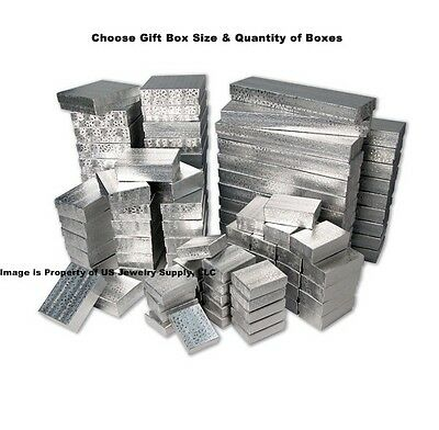 Lot of 5 20 50 100 Silver Cotton Filled Jewelry Packaging Gift Boxes Choose Size
