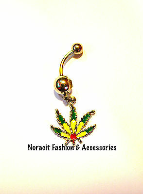 316l Surgical Steel *JAMAICAN MARIJUANA* Navel/Belly Ring - NV188