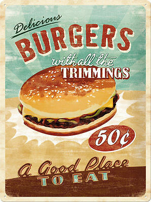 A3 Retro Tin Metal Embossed Sign Delicious BURGERS 40x30 Vintage look Americana