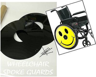 WHEELCHAIR SPOKE GUARDS SMILEY FACE Personalised Custom Designs Available