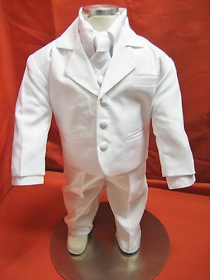 Baby Boy Christening Baptism white Suit/Wedding/Tie 5 pieces Outfit/Sizes:XS-4T