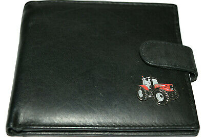 Massey Ferguson Red Tractor Wallet Leather Black/Brown Farming Gift Boxed