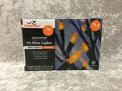 70 Mini Lights Orange Indoor/Outdoor Halloween Flashing