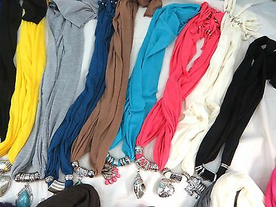 *US Seller*lot of 10 Wholesale Pendant Scarves, Scarves with Jewelry Attached