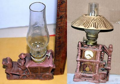 "Oil Lamp/ 2 Vintage Hurricane w/Horse Carriage+Grandfather Clock Designs 9"" tall"