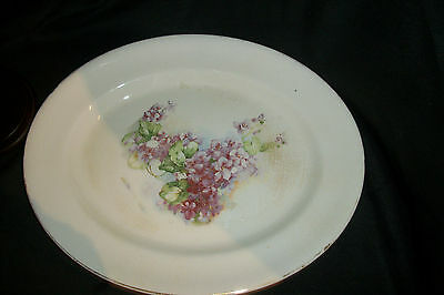 "Antique~K T & K Co~Semi-Vitreous Porcelain~15-1/2"" Platter~Green w/violet flower"