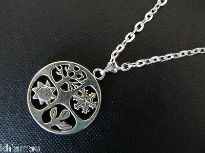 """Seasons Wheel of the Year Necklace 18"""" silver plated chain pendant wicca pagan"""