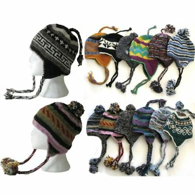 Wholesale Job Lot Of 100 Nepal Wool Knit Hippie Earflap Ski Hats Fleece Lined