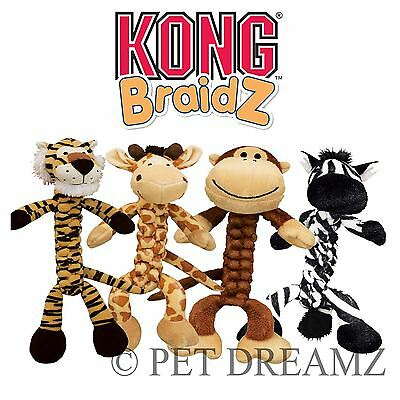 Kong Braidz Safari Animals Dog Puppy Tough Stretchy Soft Tug Squeaker Rope Toy