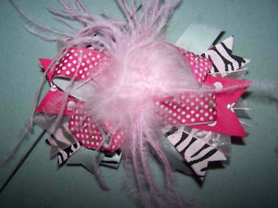 OTT zebra pink hair bow Boutique  baby toddler young girl bling