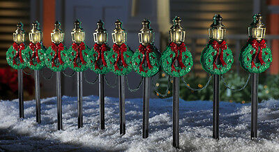 SET OF 10 CHRISTMAS WREATH OUTDOOR HOLIDAY YARD LIGHTS DECOR NEW