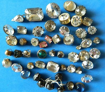 Hugh LOT Antique vintage SINGLE 50 Solitaire RHINESTONE buttons in METAL