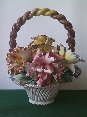 Large Vintage Capodimonte Porcelain Floral Basket Centerpiece Made In Italy WOW!