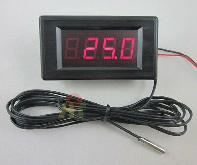 12V Red Digital Thermometer High Low Alarm Temperature +2m Stainless Steel Probe