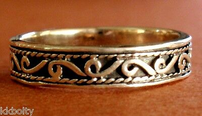 925 STERLING SILVER DAINTY 4mm SCROLL BAND RING - select your size