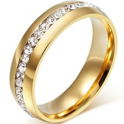 8MM Size 5-15 18K Gold Plated Stainless Steel Wedding Engagement Ring Eternity