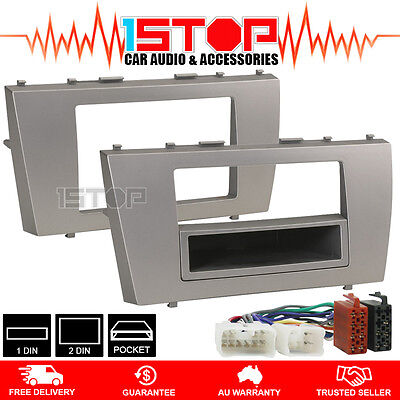 SINGLE/DOUBLE DIN FACIA FASCIA KIT + ISO HARNESS for TOYOTA AURION & CAMRY 07-11