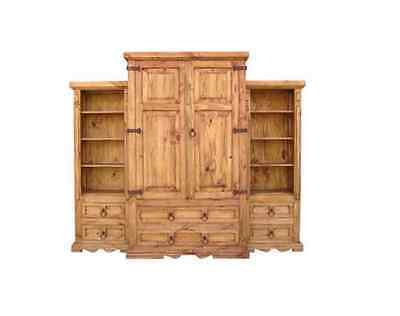 3 Piece Entertainment Armoire Rustic Western Real Solid Wood Lodge Cabin
