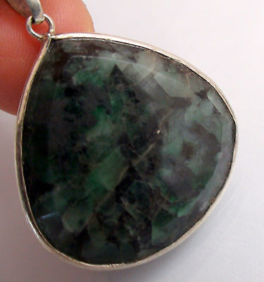 Emerald Pendant set in Fine Silver