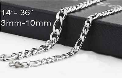 """1DayShip6/""""-40/"""" Mens Womens Kids 316 Stainless Steel Curb Necklace Chain Bracelet"""