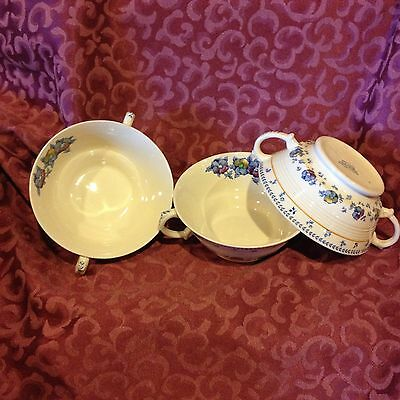 Wood & Sons, Sunny Brook Double-handled Cups; Off-white with floral.
