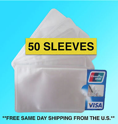 50 PACK HIGH LEVEL RFID Blocking Credit Card Sleeve Protector Shield WaterProof