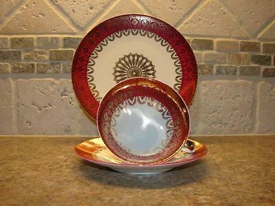 Dark Rose Mitterteich Bavaria 3-piece teacup trio