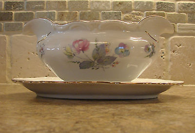 Vintage Winterling Bavaria Germany Flowers Gravy Boat w/ Attached Underplate