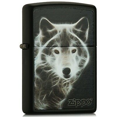 "Zippo Black Matte ""White Wolf"" Windproof Lighter 28303 --- Free Ship"