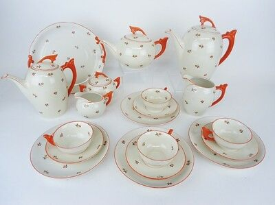 HUGE LOT ART DECO BAVARIAN COFFEE TEA COCOA POT SET 4 TRIOS CAKE PLATE