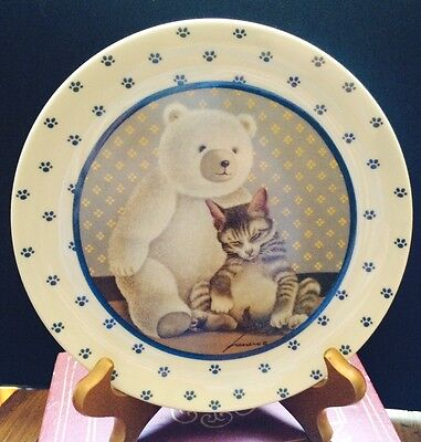 Vandor Lowell Herrero 1989 Collectors Plate White W/teddy Bear & Sleping Cat