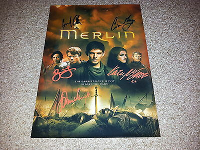 "Merlin Castx5 Pp Signed Poster 12""x8"" A4 Colin Morgan Bradley James N2"