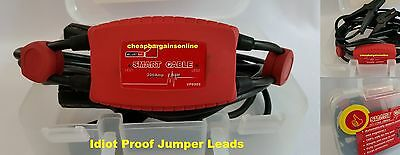 Jumper Leads Surge Protected Starter Booster Cables Idiot Proof Smart Cable Set