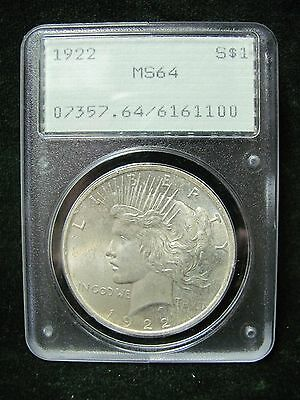 1922 $1 Silver Peace Dollar - PCGS MS 64 - Rattler Holder