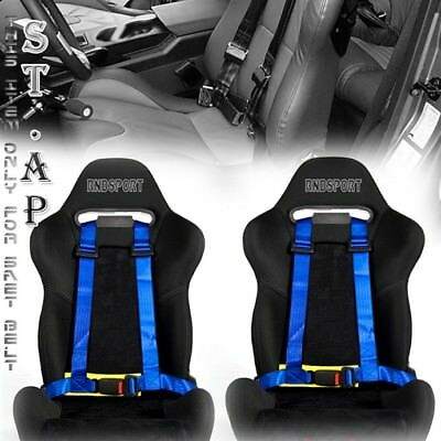 """Us-Car 2X(Two) Jdm 4-Point Racing Safety Harness 2"""" Inch Strap Seat Belt Blk/yl"""