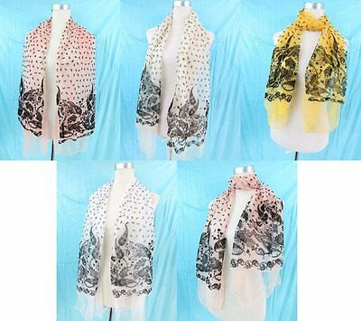 *US Seller*lot of 5  retro paisley sheer scarf wholesale shawls and wraps