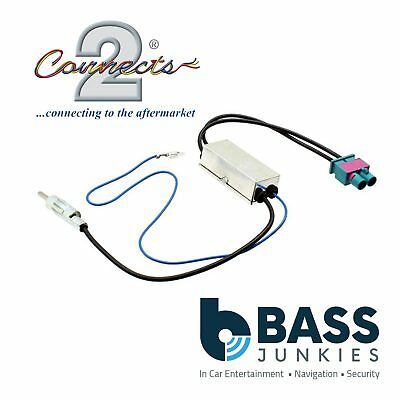 AUDI A3 2005 On Dual Twin Car Radio Double Fakra to Din Aerial Antenna Adaptor