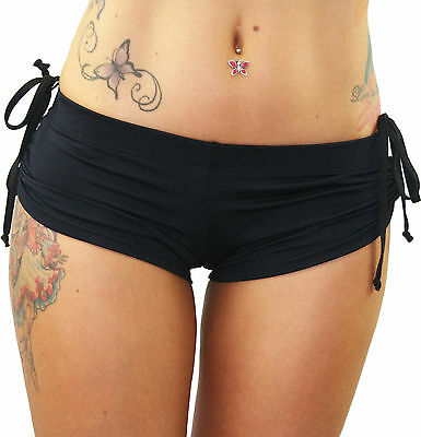 Juicee Peach Black Top Tie Pole Dancing/Yoga/Crossfit/Gym Exercise Shorts
