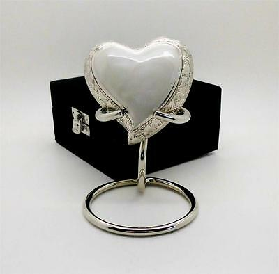 Brass Heart Remembrance Cremation Memorial Keepsake Funeral Urn + case + stand