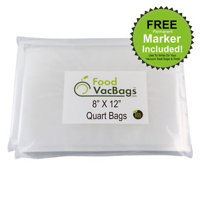 100 Quart 8x12 FoodVacBags 4mil Embossed Vacuum Sealer Bags for FoodSaver